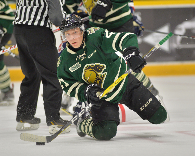 Robert Thomas was traded to the Hamilton Bulldogs. (Photo by Terry Wilson / OHL Images)