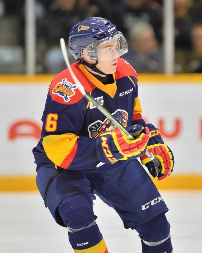 Defender Jordan Sambrook was moved as well as Taylor Raddysh to the Greyhounds. (Photo by Terry Wilson / OHL Images)