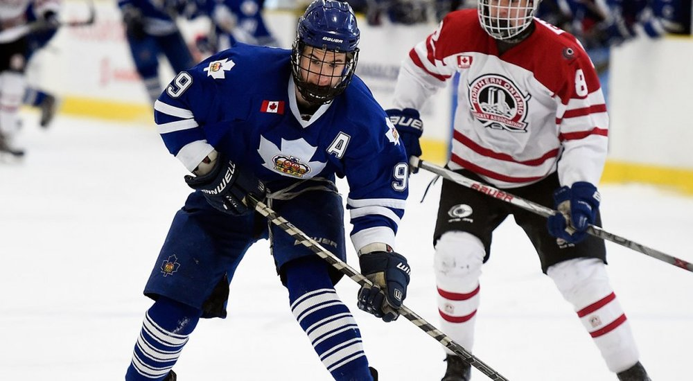 Ryan McLeod when he played for Toronto Marlboros Minor Mdgt AAA. (Photo by Aaron Bell/OHL Images)