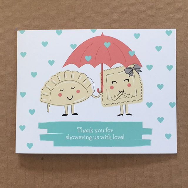 I haven't posted any of our wedding related designy stuff. Here's a bridal shower thank you card. (He's Polish and I'm Italian, hence the pierogi and ravioli)  #graphicdesign #design #illustration #illustrator