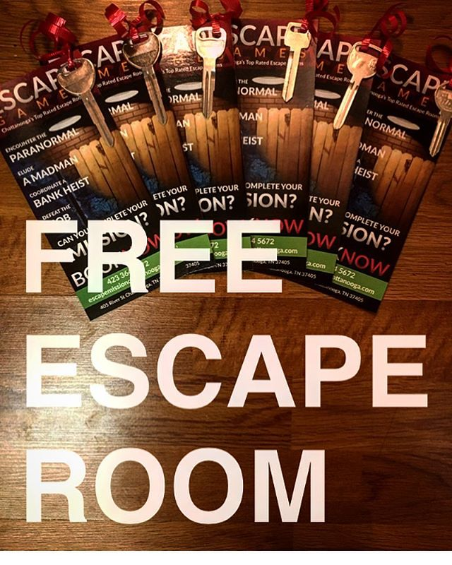 ESCAPE MISSION GIVEAWAY!!! One lucky person will win an escape room for SIX PEOPLE! Valid through March 31, 2018.  RULES OF THE GIVEAWAY / ALL 3 ARE REQUIRED TO WIN 1) Follow escapemissionchattanooga  2) Like this picture 3) Tag everyone you know! Entries are unlimited and the winner is chosen at random, so the more people you tag the better your chances of winning! Giveaway ends at midnight on December 20th, so hurry! Tickets are valid for any of our 4 rooms.