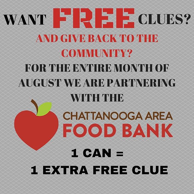 For the entire month of August we will be partnering with the Chattanooga Area Food Bank. When you come in to play one of our rooms just bring cans of food and for each can you bring you will get an extra clue on us and help someone in need! It's a win win! Book now at https://escapemissionchattanooga.com and visit https://chattfoodbank.networkforgood.com to see all of the good work they do for the Chattanooga area! . . . #escaperoom #escape #esacperooms #chattanooga #chatt #chattanoogatennessee #chattanoogatn #chattanoogaareafoodfoodbank #foodbank