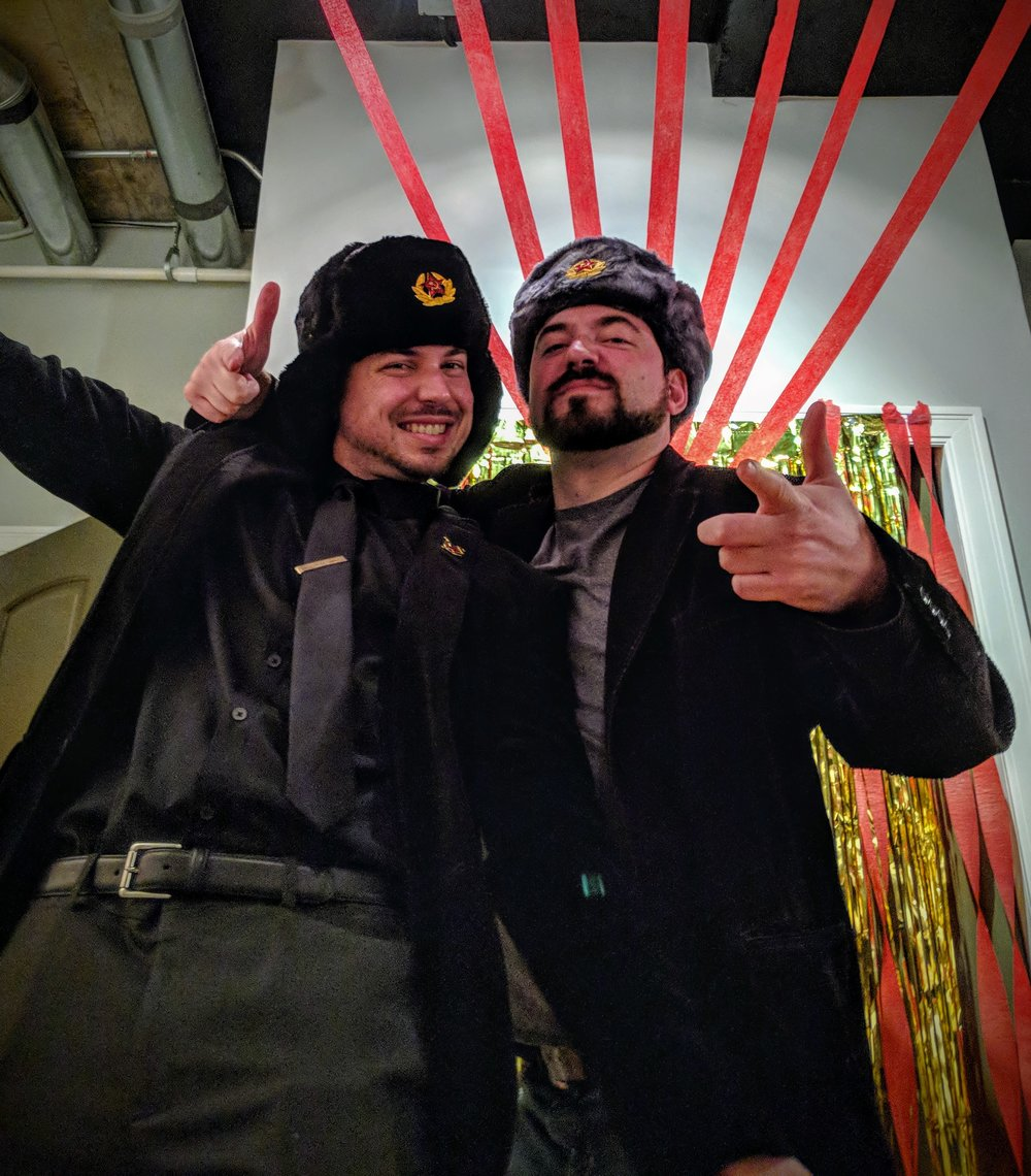 """Eddy and Craig at our Living Daylights party, with """"Cold War"""" themed attire."""
