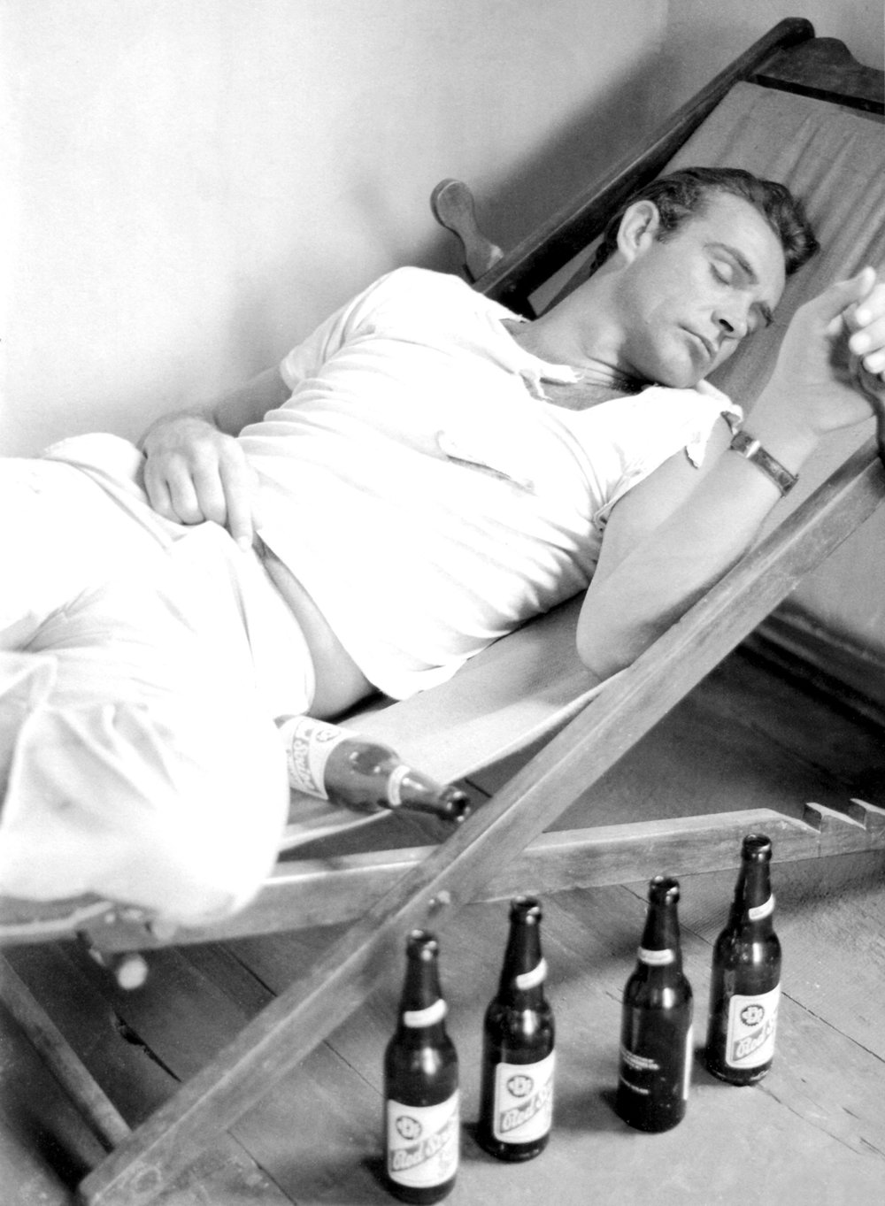 """Connery """"relaxing"""" on the set of Dr. No. Found at  the007dossier.com"""