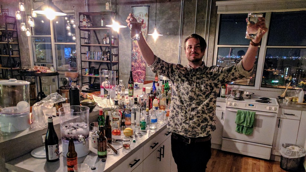 Eddy survived his first night making drinks for a big crowd on July 3, 2017. Seen here celebrating with water. Good job, Eddy.