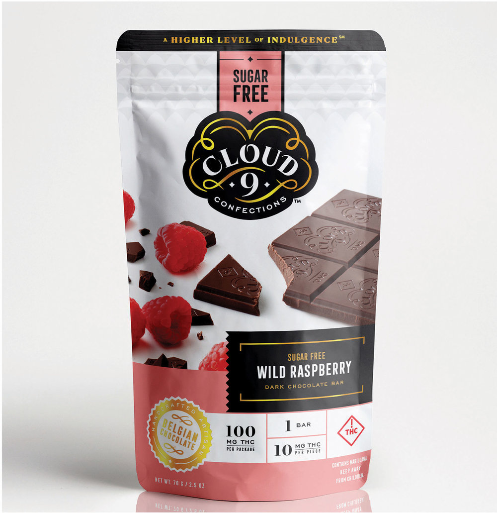 SUGAR FREE WILD RASPBERRY   The same bright and fresh raspberry flavors to engulf your taste buds in a mile high wave of smooth dark chocolate… just without the sugar. Revolutionary.  10 mg THC / Piece // 100 mg THC / Package