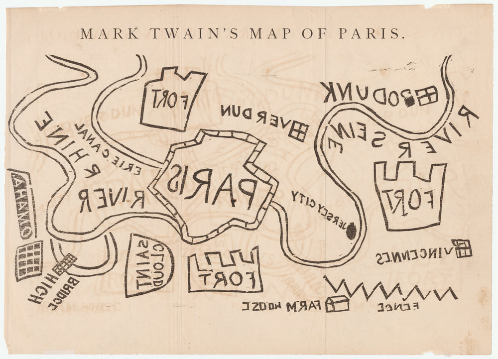 "Fig. 3. Mark Twain, ""Mark Twain's Map of Paris,"" from  The Galaxy  10, no. 5 (November 1870), between 724 and 725.  Variant 1.3.  From PJ Mode's Persuasive Maps Collection (1073): https://digital.library.cornell.edu/catalog/ss:19343171"