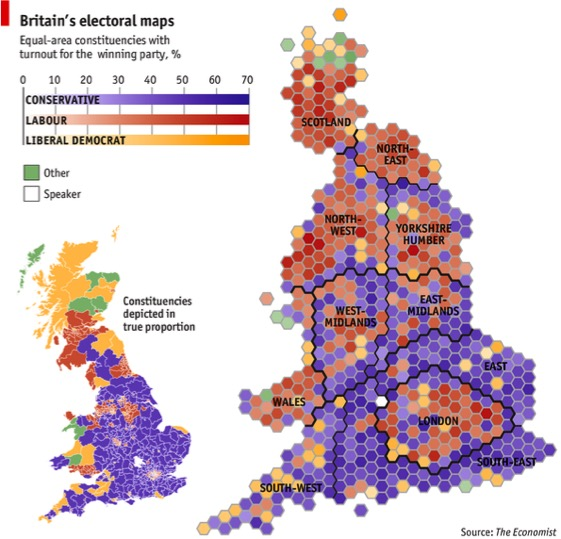 A cartogram of modern UK constituencies: http://www.economist.com/ blogs/graphicdetail/2013/04/mapping-britain.