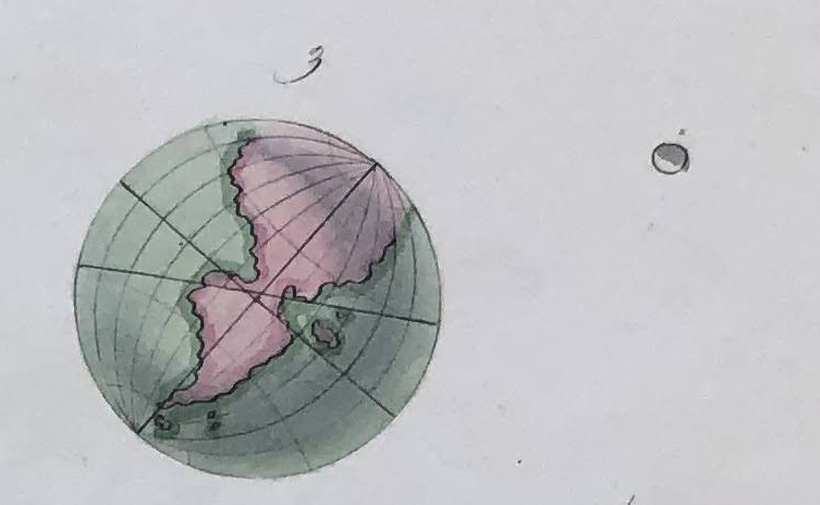 Fig. 3. Earth, with the Moon (not to scale). Detail of fig. 1]