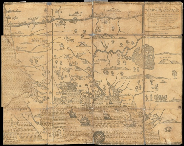"""Map of New-England  (1677); the """"White Hills map."""" See text for full bibliographic details. Osher Map Library and Smith Center for Cartographic Education, University of Southern Maine; www.oshermaps.org/map/492.0001"""