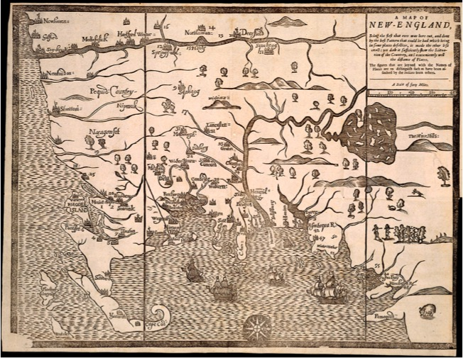 """Map of New-England  (1677); the """"Wine Hills map."""" See text for full bibliographic details. Osher Map Library and Smith Center for Cartographic Education, University of Southern Maine; www.oshermaps.org/map/12777.0001"""