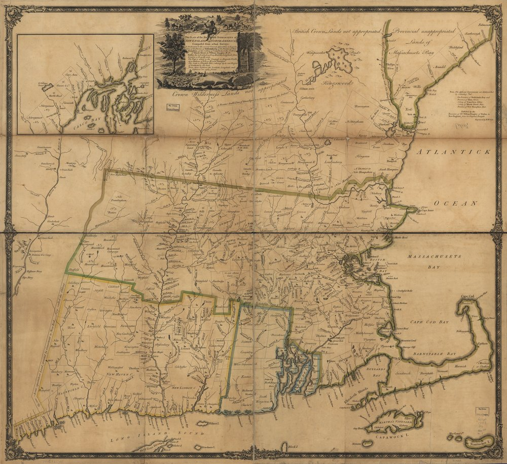 William Douglass,  Plan of the British Dominions of New England in North America  (London, [1755]). Library of Congress. See https://www.loc.gov/item/74692144/