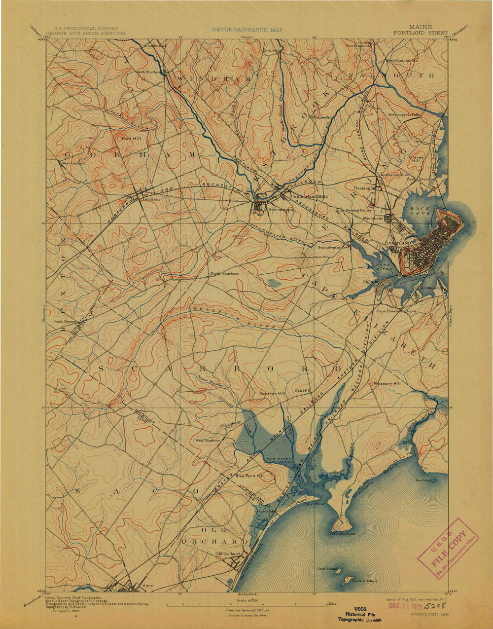 """USGS,  Portland, Me , 15' quadrangle, 1:62,500, surveyed in 1889, edition of 1893, reprinted 1913. You can download digital, georeferenced images of USGS topo quads from  https://ngmdb.usgs.gov/topoview/  (just click """"get maps"""")"""