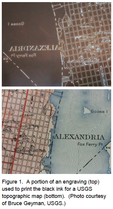 Details of (above) an engraved plate for cultural features, to be printed in black ink and (below) the final map, showing Alexandria, Va. Note that the completed map includes further overprinting in red (see below), and was originally at a larger scale than most topographical quadrangles, specifically 1:31,680. Source: https://www.gsa.gov/cdnstatic/USGS_Engravings_Available_for_Sale.pdf