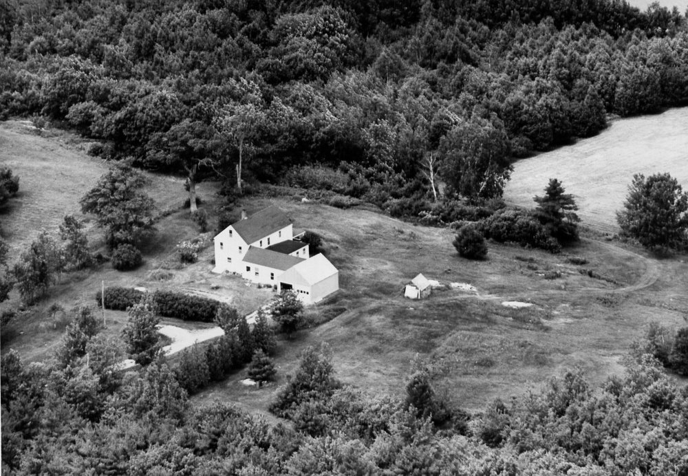 Arial view of the Burke homestead. The house no longer remains on the property but visitors can still visit the upper and lower fields and look out onto Merrymeeting Bay.