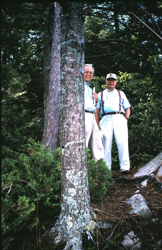 Tom Barringtion and John Doane scouting what is now the Narrows Trail in 1998, before the land trust purchased the property.