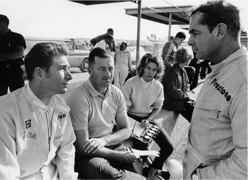 Seen here from left to right are Jim Hall, Hap Sharp, Hill's wife Sandy and 1961 F1 World Champion Phil Hill in an image from  Phil Hill: A Driving Life , one of the six titles currently on sale.