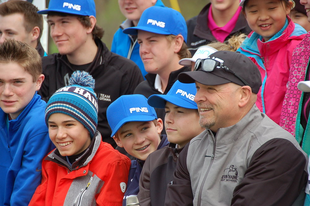 The Henderson Clinic  - Kevin  and some lucky  juniors enjoying Brooke Henderson's clinic on tournament day