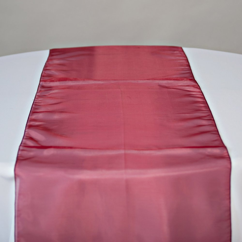 Burgundy Organza Table Runner On Table