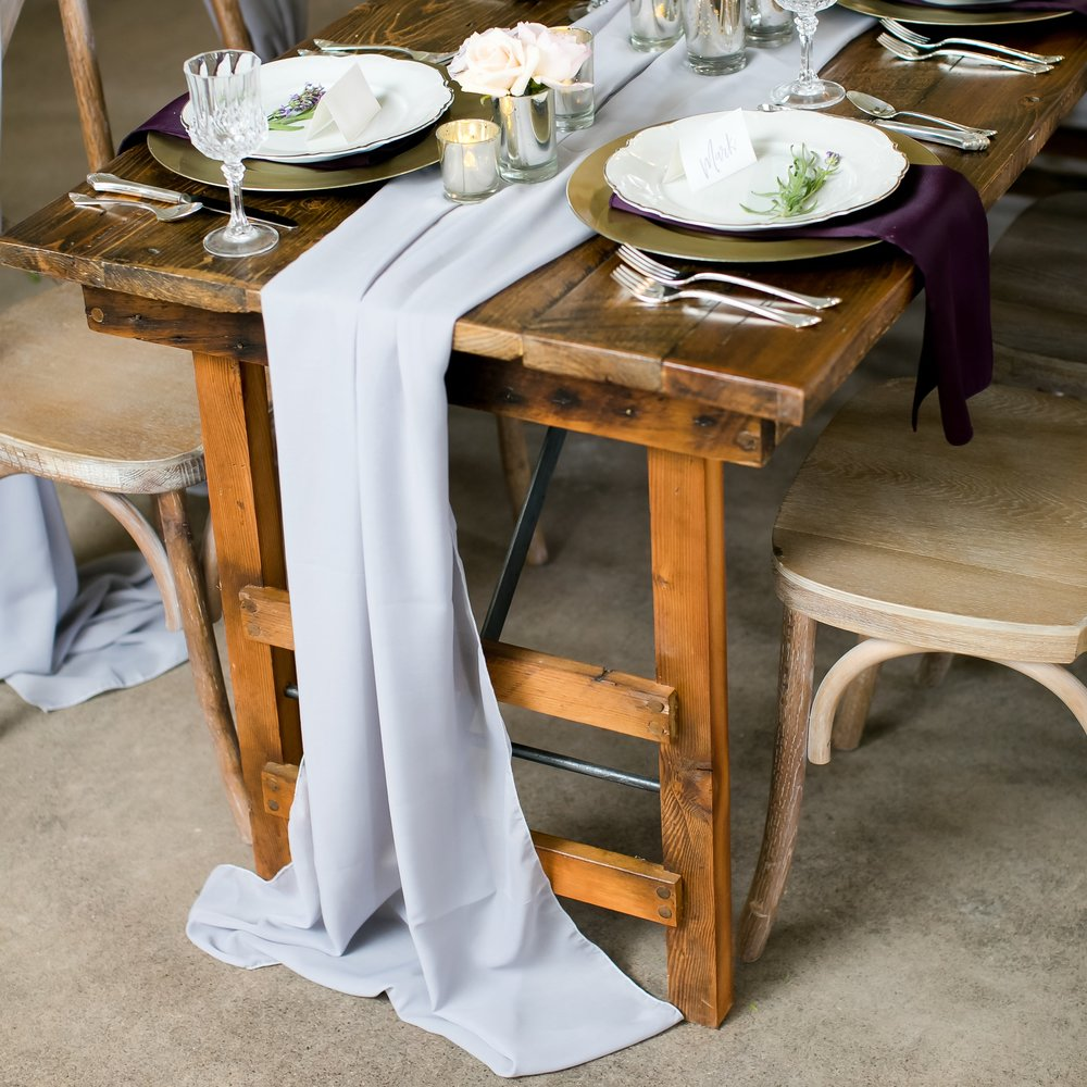 Grey Chiffon Table Runner On Farm Table ...