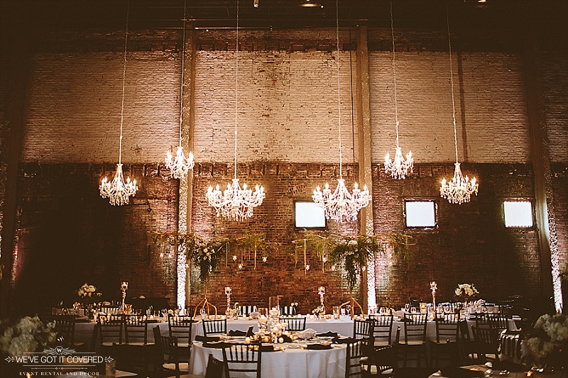 Six crystal chandeliers hung above the head table for elegance and great style.