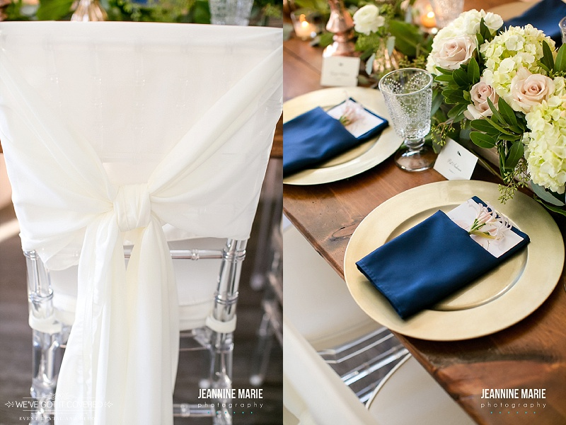Chair cover tied over chiavari chairs and gold and navy wedding colors