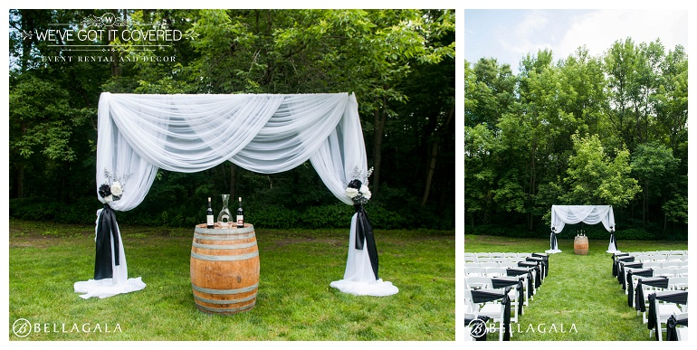 draping ideas for an outdoor wedding including wine barrels and wine