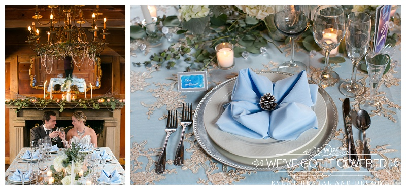 winter wedding with baby blue accents, lace overlay and silver chargers
