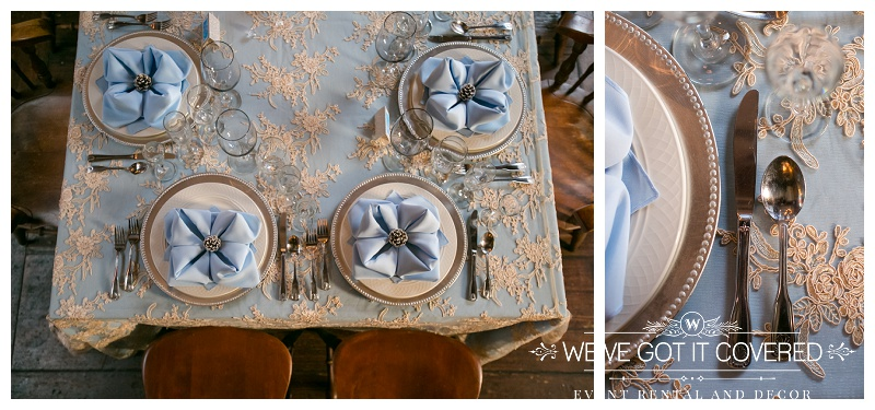 table lay with blue napkins, blue linen with lace on top for blue undertones and beaded chargers for extra elegance