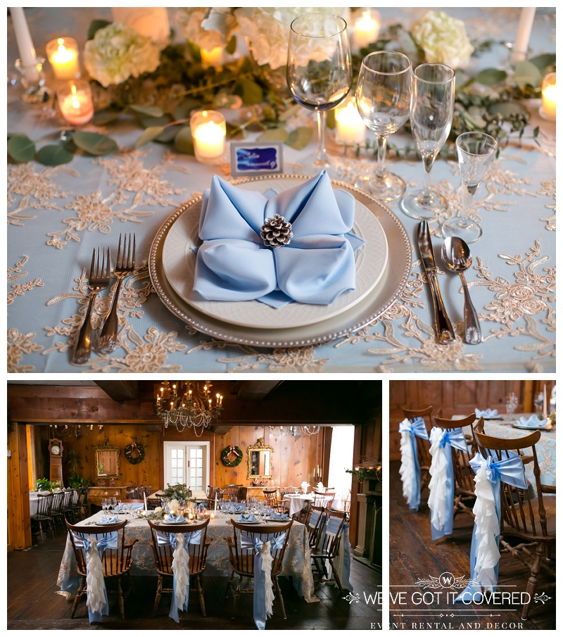blue sashes tied in a bow on unique wooden chairs with white ruffles surrounding a head table