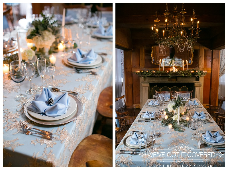 Winter wedding reception ideas inspired by blue serenity polyester linens, napkins and lace overlays