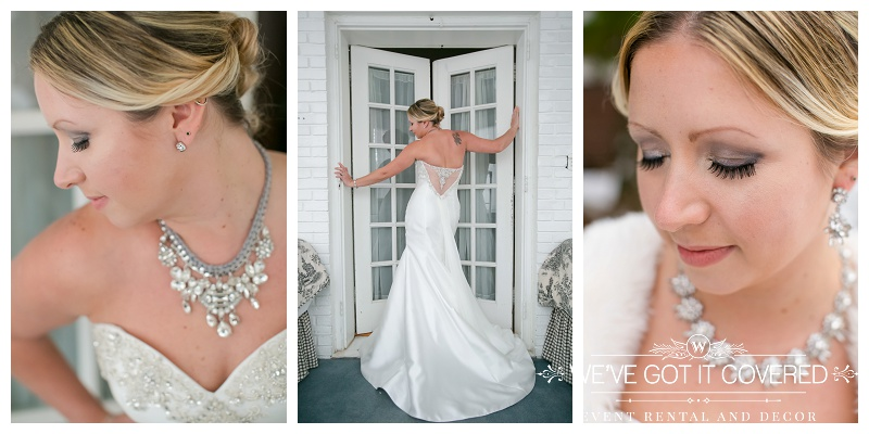 Winter wedding dress, make up, hair and jewelry