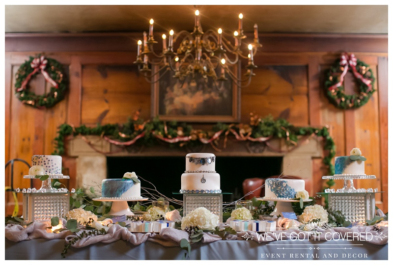 Winter wedding cake table with cake ideas and colors and styles mixed in with silver and blue linen and green eucalyptus