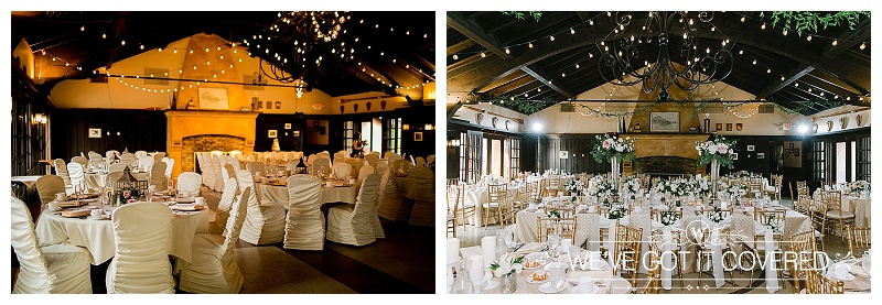 Left Photo: Whitney Anderson Photography  Right Photo:  Jeannine Marie Photography   Venue:  Minnesota Boat Club   Cafe Lights and Rouge Chair Covers: We've Got It Covered