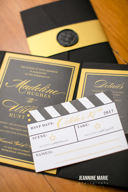 A movie style wedding invitation for a Minnesota wedding