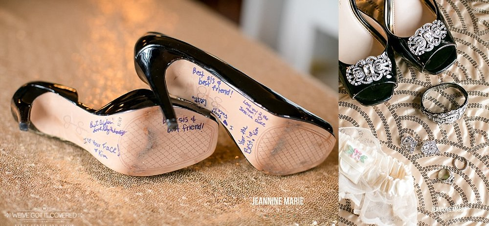 Wedding shoes with notes on the bottom on top of a sparkly linen that catches the eye