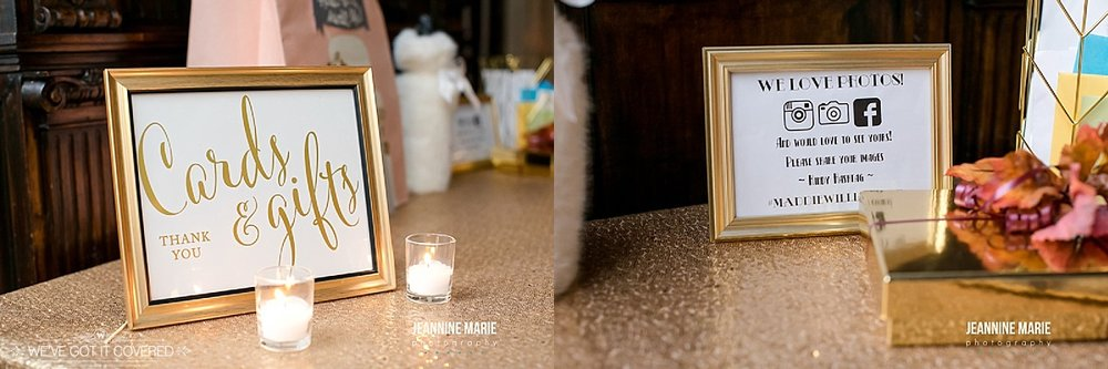 Cards and gift table ideas for a wedding. Gold accents and a gold sequin linen that sparkles in the light