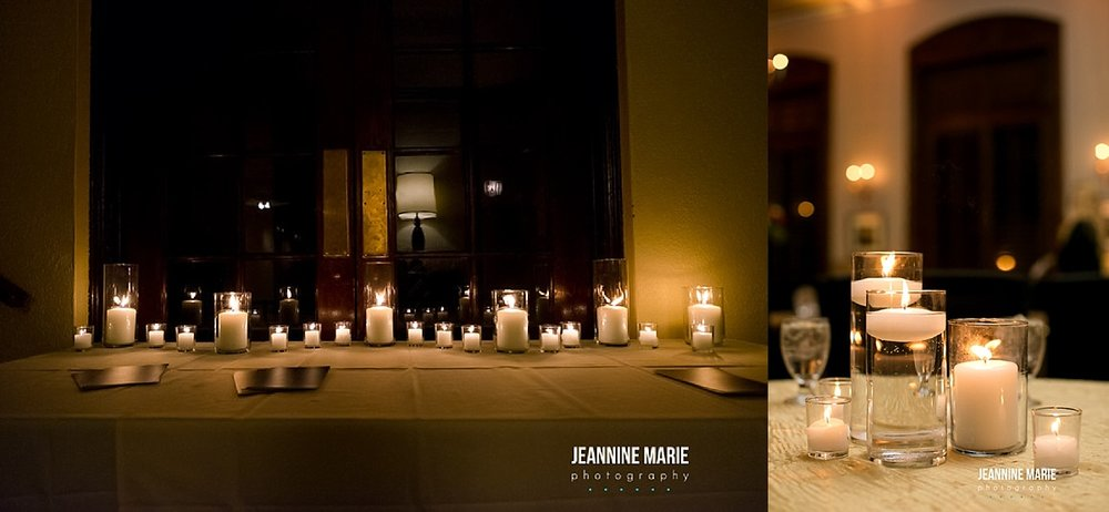 Row of candles used for decoration with some floating in water displayed on top of a champagne luster linen for romantic ambiance