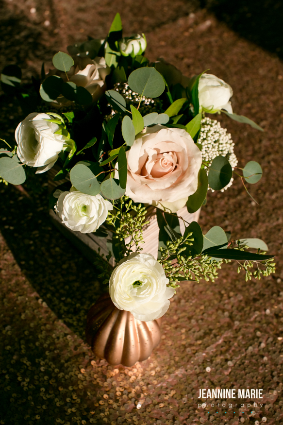 blush vase on a blush sequin linen