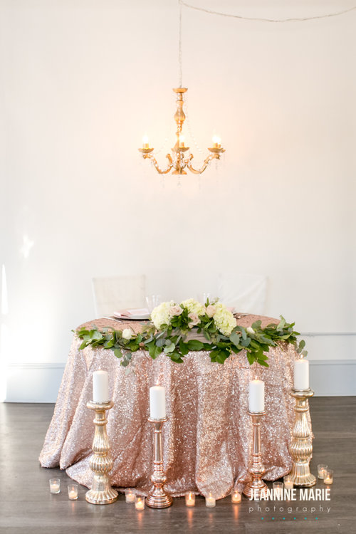 Wedding decor rental minnesota blog services sweetheart table with a blush sequin linen the added candlestick and chandelier decor add sweet aloadofball Images