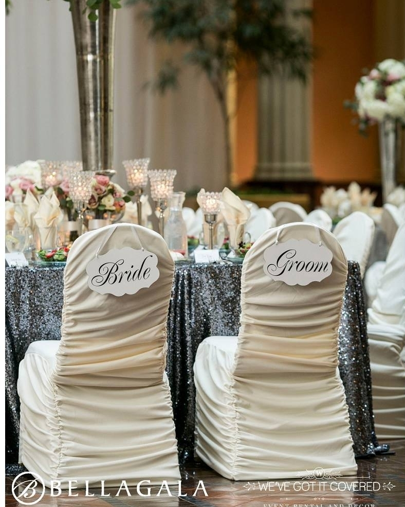 Charcoal sequin linen with bride and groom ivory rouge chair covers