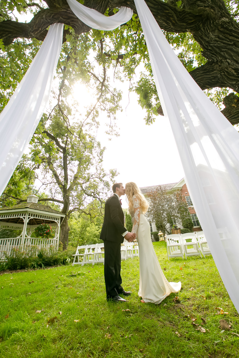 outdoor wedding ceremony draping decor
