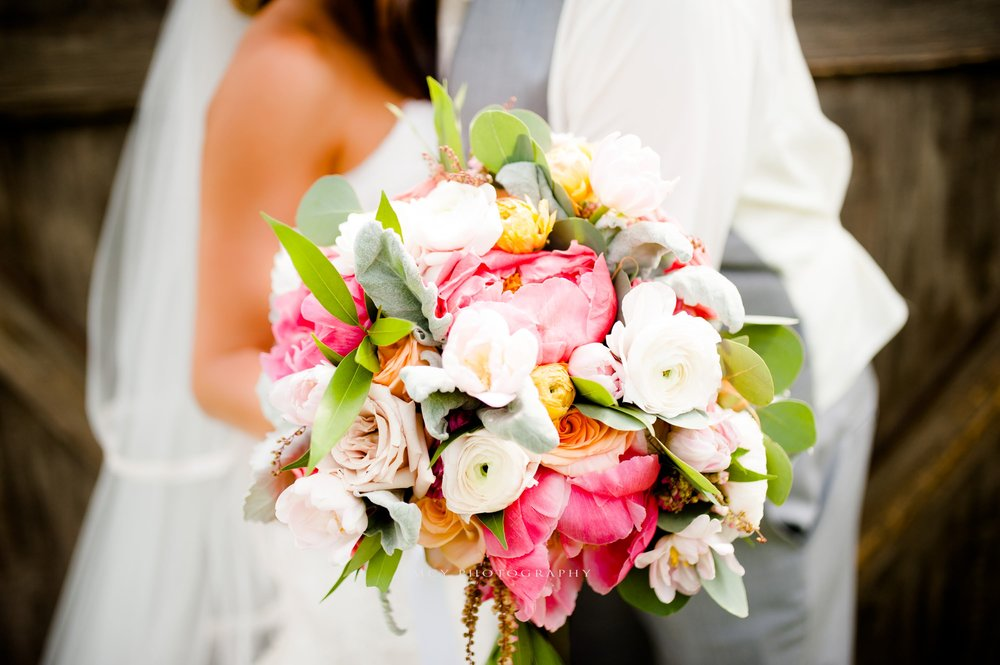 wedding bouquet with pink and white flowers