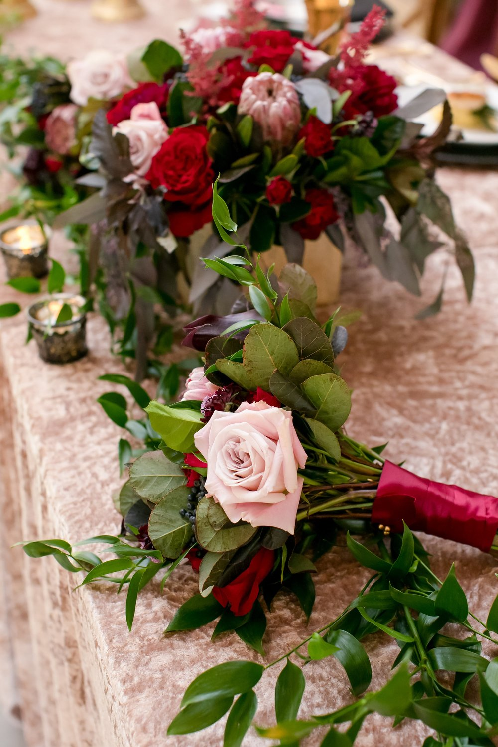 velvet head table linen with bridesmaids bouquets
