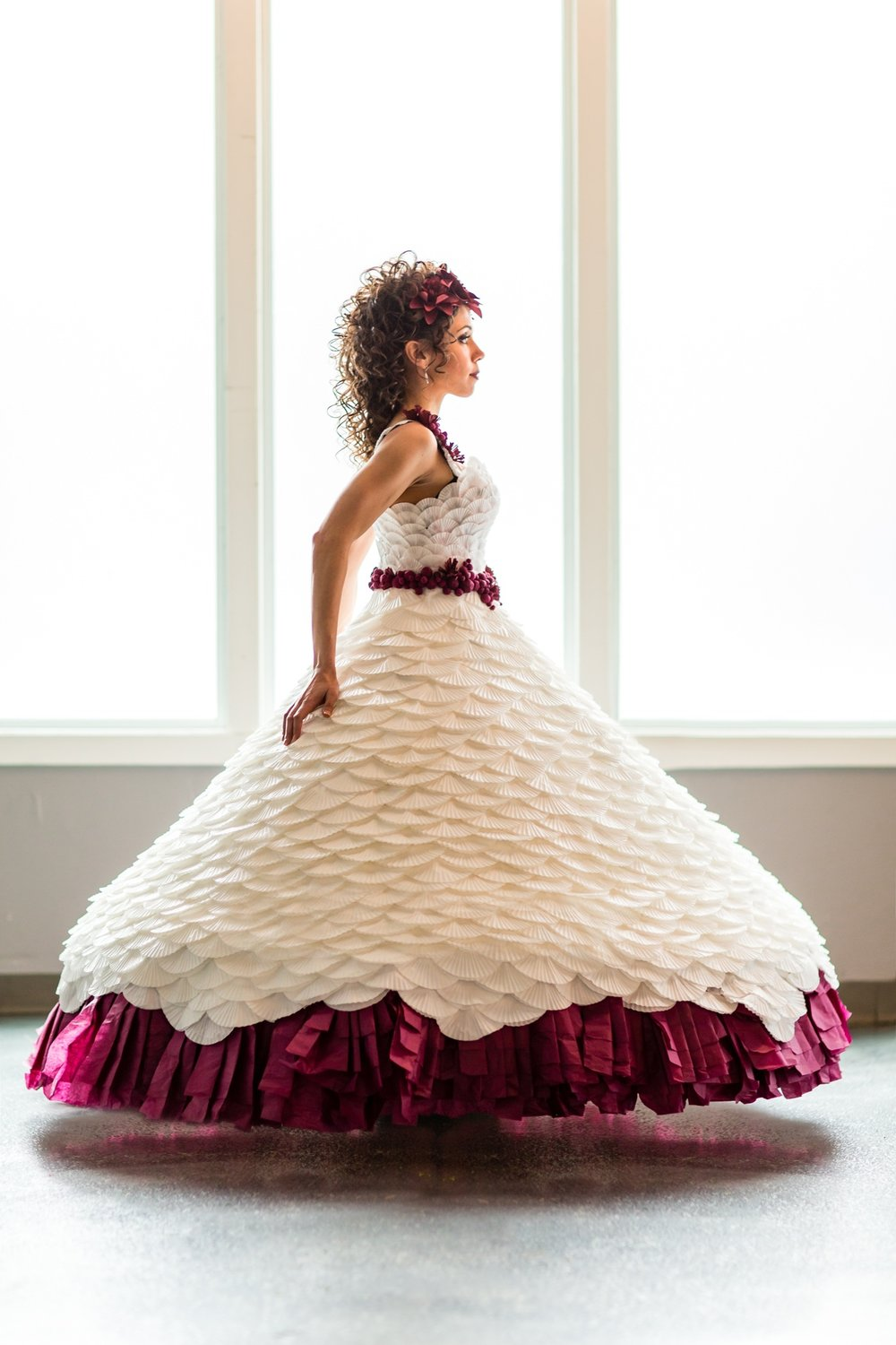 Burgundy and white paper wedding dress styled shoot in Minneapolis Minnesota