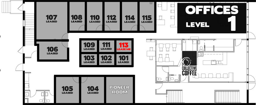 Suite 113  - $375.23 + GST/month on a one-year lease. 48 square feet
