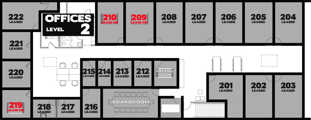 Suite 209  - $1,129.84 + GST/month on a one-year lease. 217 square feet  Suite 210  - $1,033.28 + GST/month on a one-year lease. 199 square feet  Suite 219  - $757.63 + GST/month on a one-year lease. 143 square feet