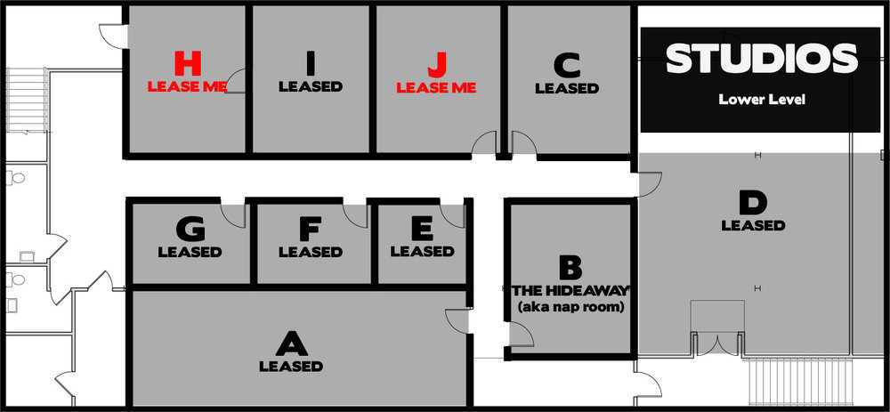 Studio H  - $583.94 + GST/month on a one-year lease. 300 square feet (available December 1, 2016)                                                Studio J  - $583.94 + GST/month on a one-year lease. 300 square feet (available December 1, 2016)