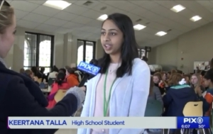 Keertana's Interview with Pix 11 News in 2018   link to interview with Pix 11 News:   http://pix11.com/2018/04/20/nj-teen-pays-off-other-students-lunch-debt/