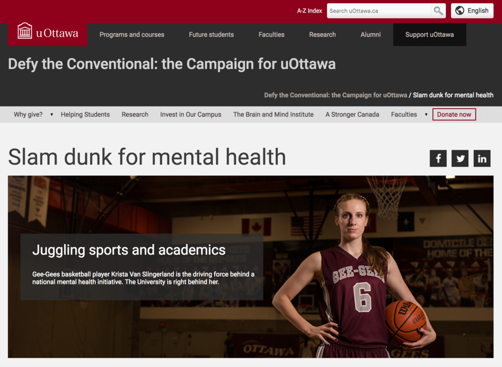 Krista Van Slingerland advocates for mental health on uOttawa campus